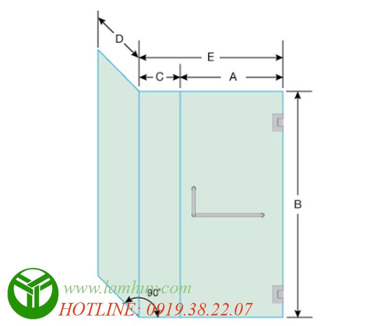 Cấu tạo phòng tắm kính vuông góc PTK01